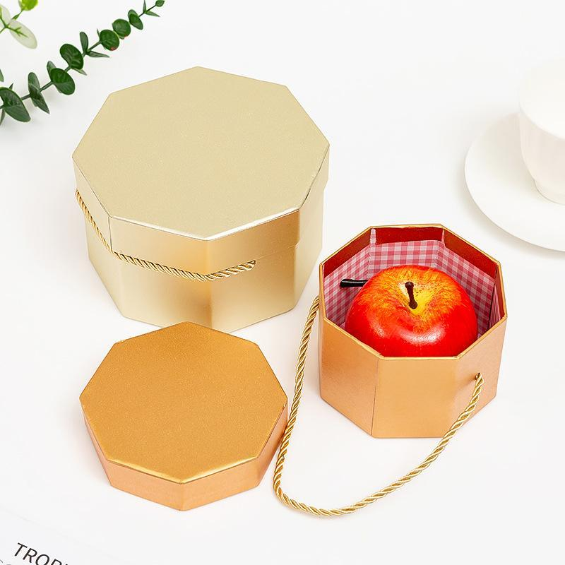 Upscale Octagon Flower Boxes Portable Florist Flowers Packaging Box Wedding Party Candy Gift For Christmas Apple Wrap