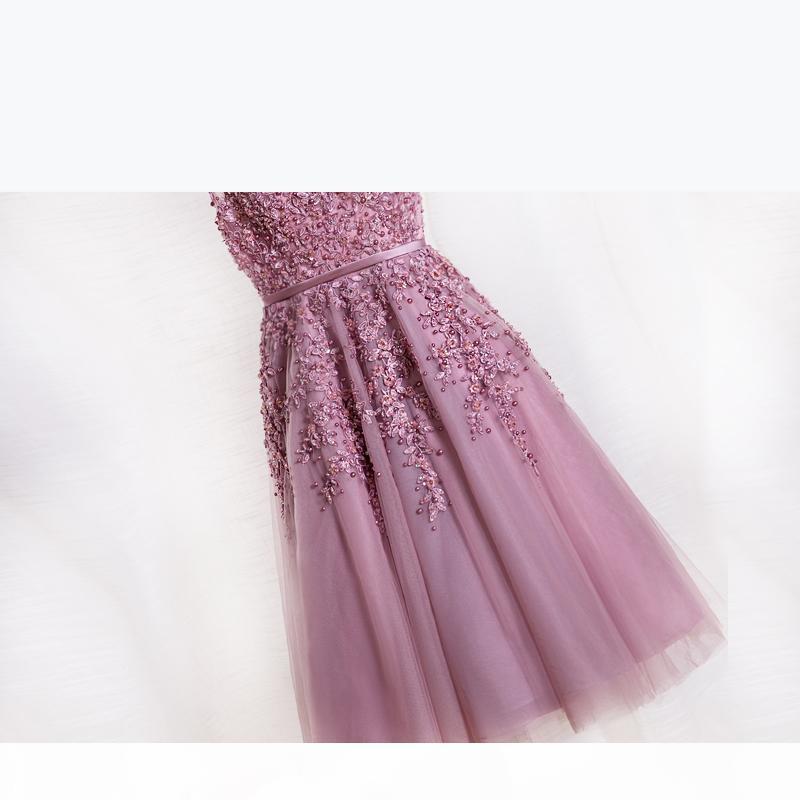 Женщины короткие вечерние платья 2021 Dusty Rose розовые платья подружки невесты дешевые долевые долиные платья платья кружева аппликации вечерние платья вечерняя одежда