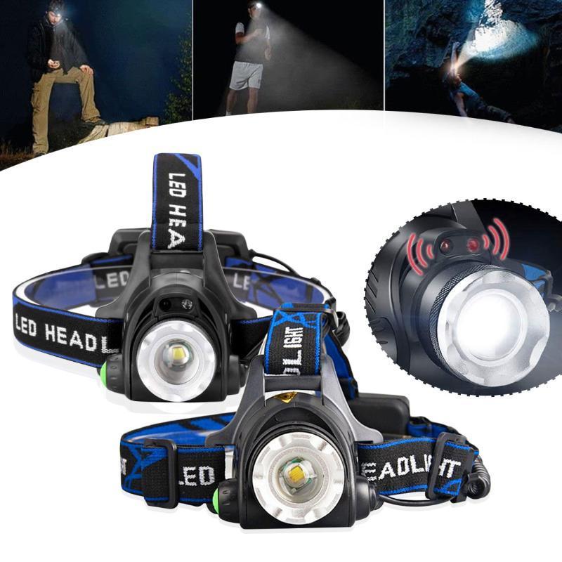 Headlamps Sensor IR Farol USB Recarregável V6 / L2 / T6 LED de indução LED Headlamp Cabeça de pesca Lâmpada Lanterna por 2x18650 Batter