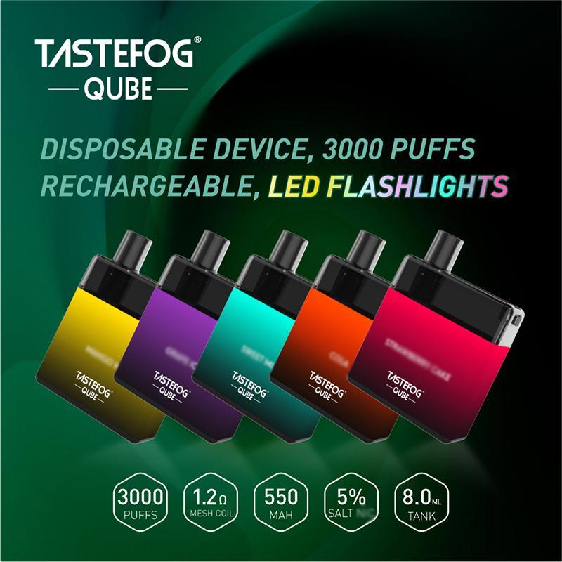 100% Nombre original Cube Cube 3000 Puffs E Cigarette Jetable Vape Dispositif Pod Pod 8.0ml Cartouche 550MAh Batterie rechargeable 5 Flavs Disponible VS Randm Dazzle King