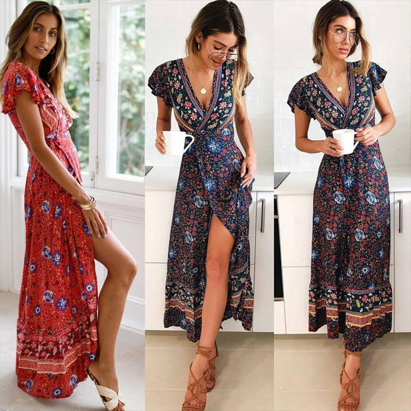 Summer Fashion Vintage Robe Womens Dresses Short Sleeve V Neck Boho Sexy Party Split Print Long Sundress