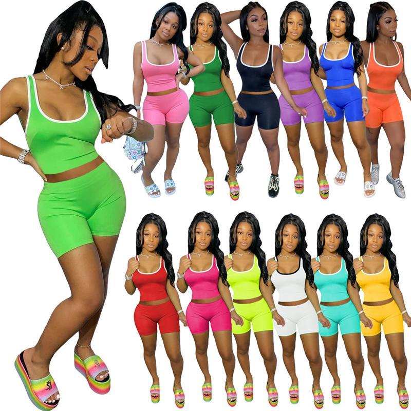 Frauen zwei Stück Hosen Trainingsanzüge Anzug 2 Stückgess Hose Sleeveless Tshirt Top + Shorts Mode Sexy Sports Solide Farbe Weste Kurzer Anzüge Plus Größe S / M / L / XL / 2XL Rot Blau
