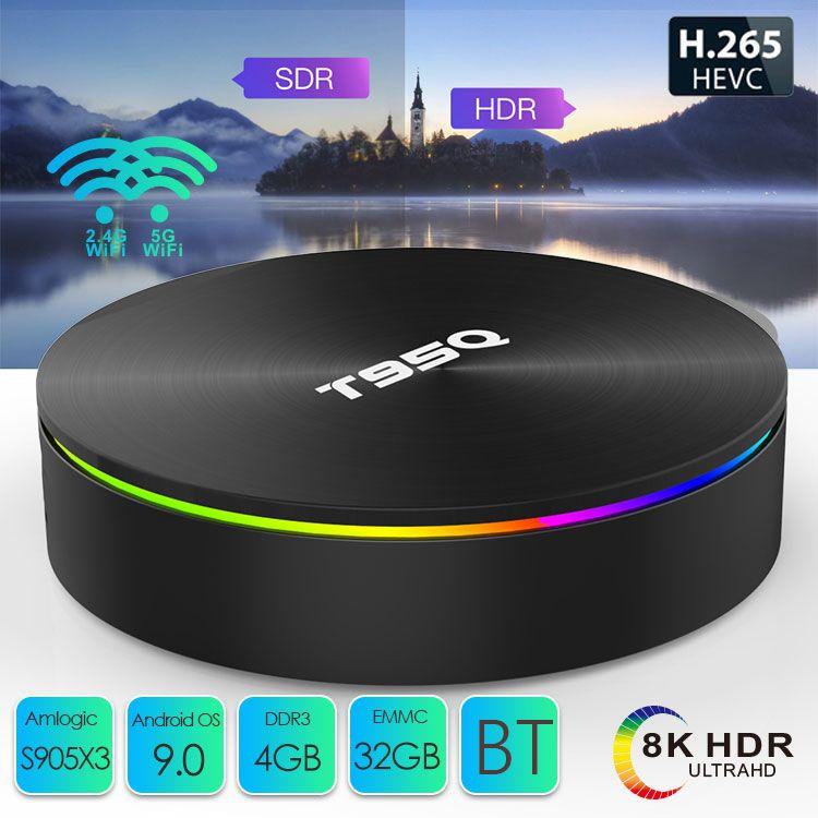 T95Q Android 9.0 TV BOX 4GB+32GB/64GB Amlogic S905X3 Quad Core Dual 2.4G&5GHz Wifi BT PK X96