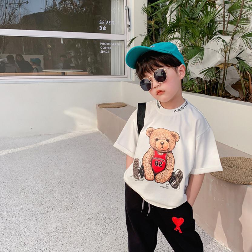 Boys Bear Printed T-shirts Summer Children Short Sleeve Tees Kids Cotton casual tops A6531