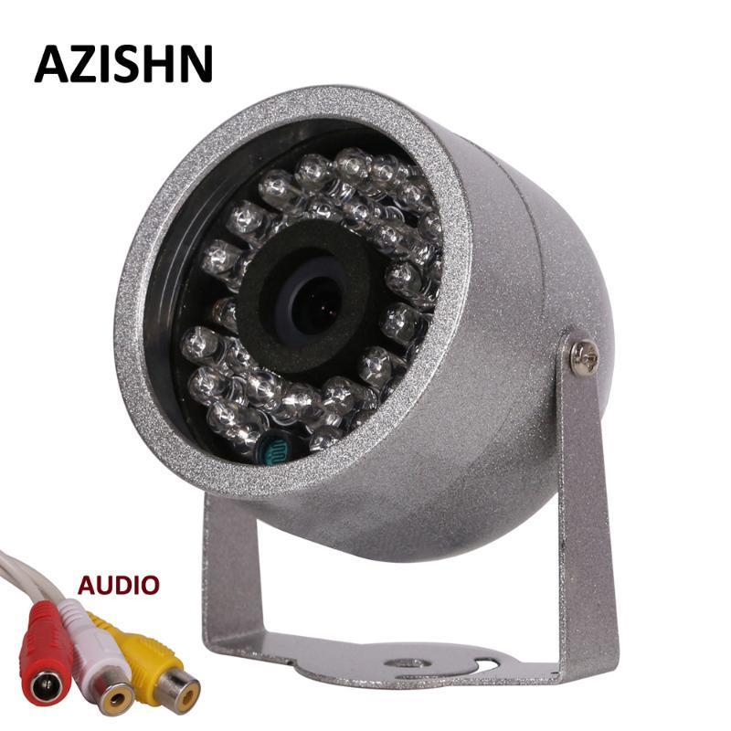 Kameralar Azishn CMOS 700TVL Ses Gözetimi ile 30 LED Gece Görüş Güvenlik Açık Renk Metal Kabuk Su Geçirmez CCTV Kamera