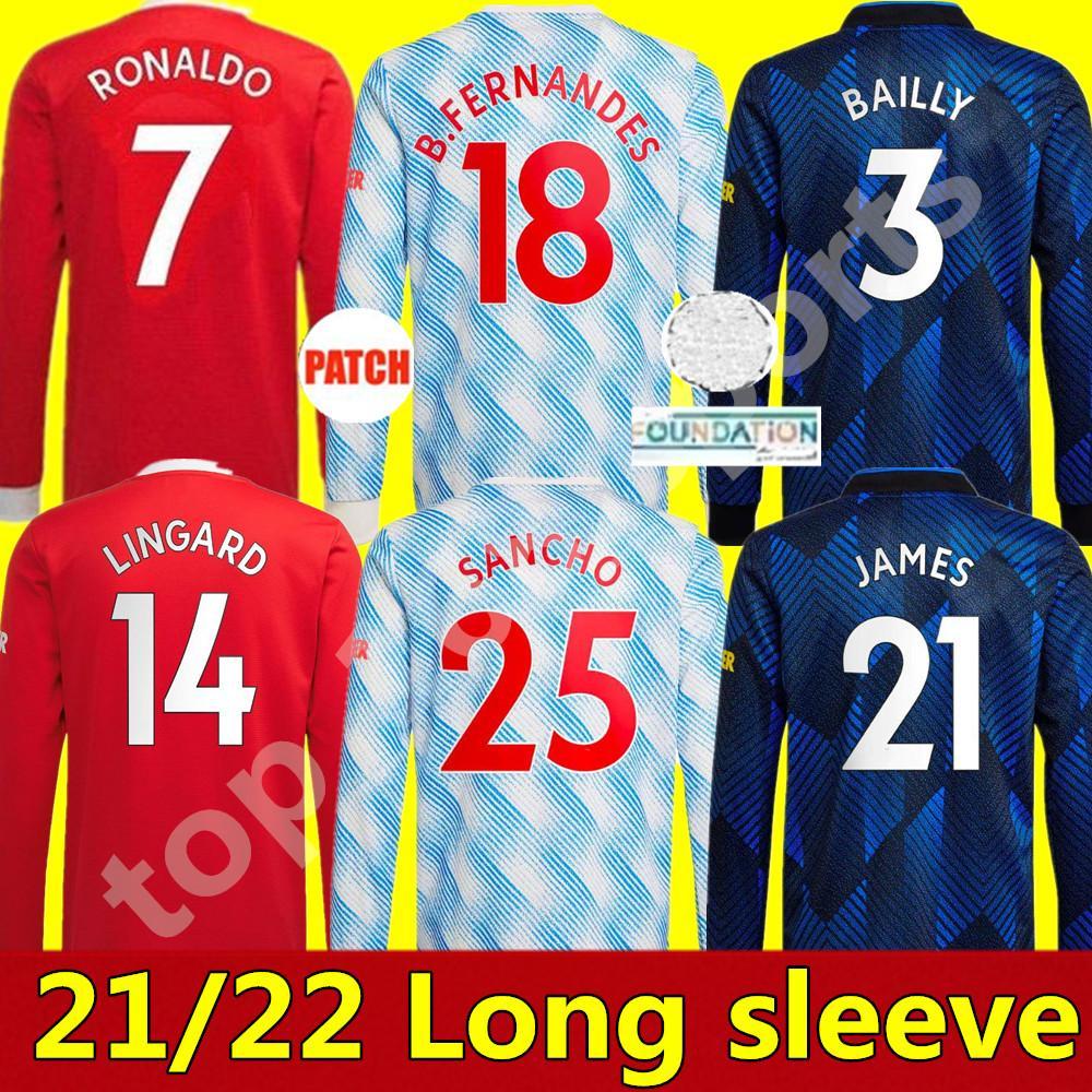 21 22 맨체스터 축구 유저 긴 소매 홈 멀리 3rd United Ronaldo Pogba 2021 무술 Lukaku Rashford 셔츠 B.fernandes Greenwood Lingard 축구 유니폼