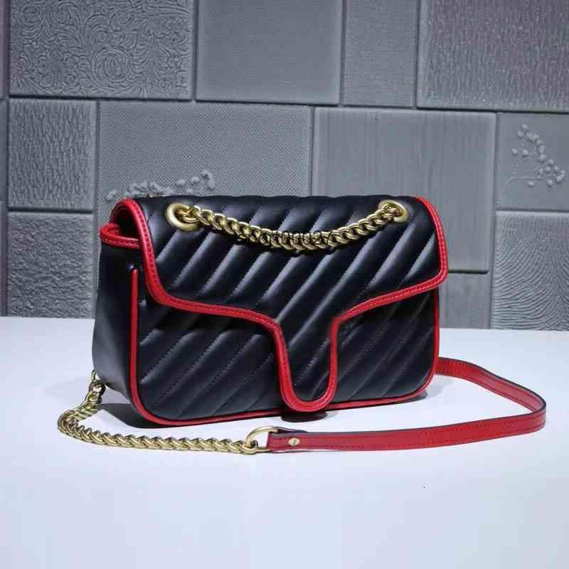Classic Deluxe Matching Leather Shoulder Bag Quality Metal Handbag Size 26*15*7cm discount sale 443497