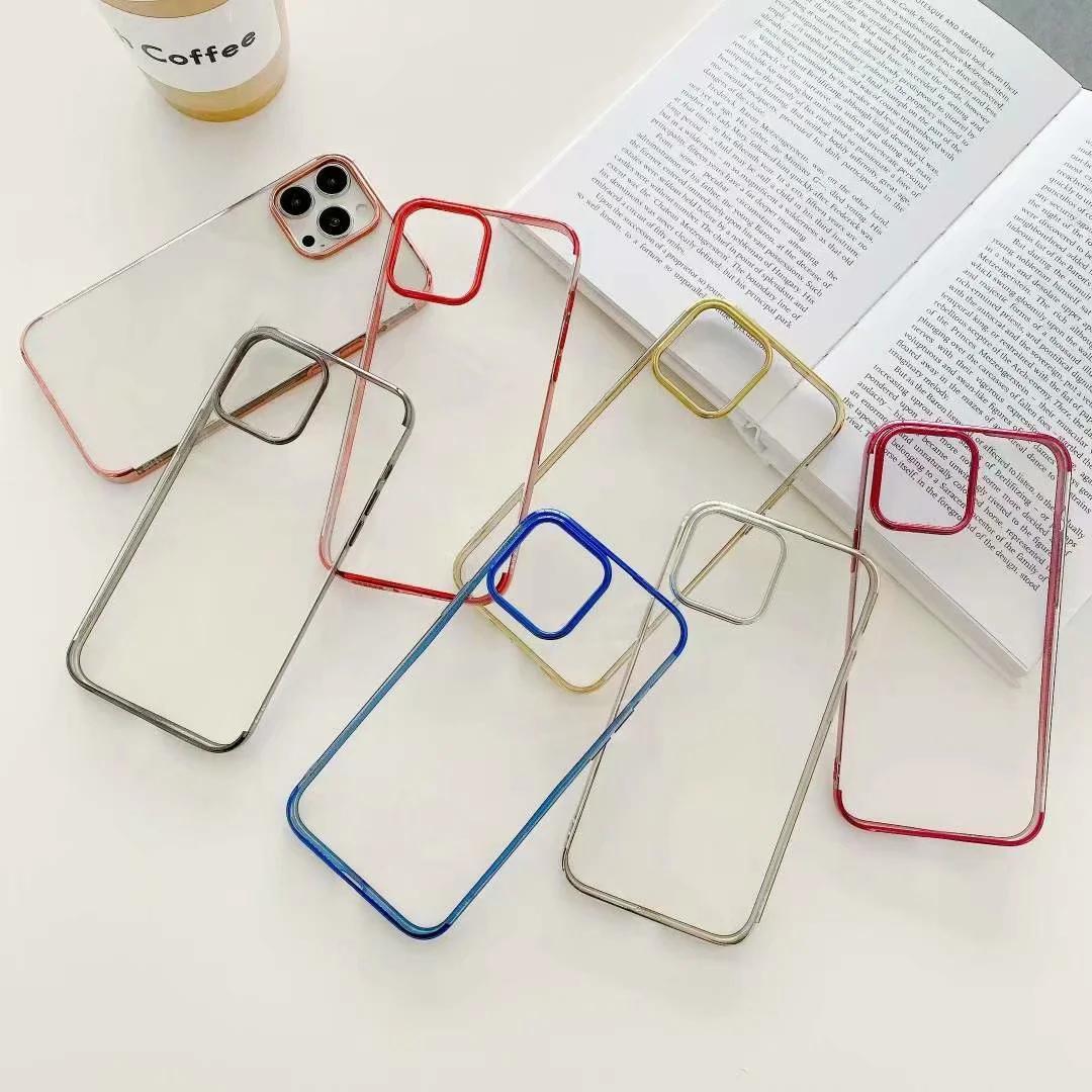 아이폰 13 프로 최대 2021 미니 럭셔리 블링 크롬 맑은 소프트 TPU 전화 13 iPhone13 도금 금속 투명 전기 도금 스마트 폰 다시 덮개 피부
