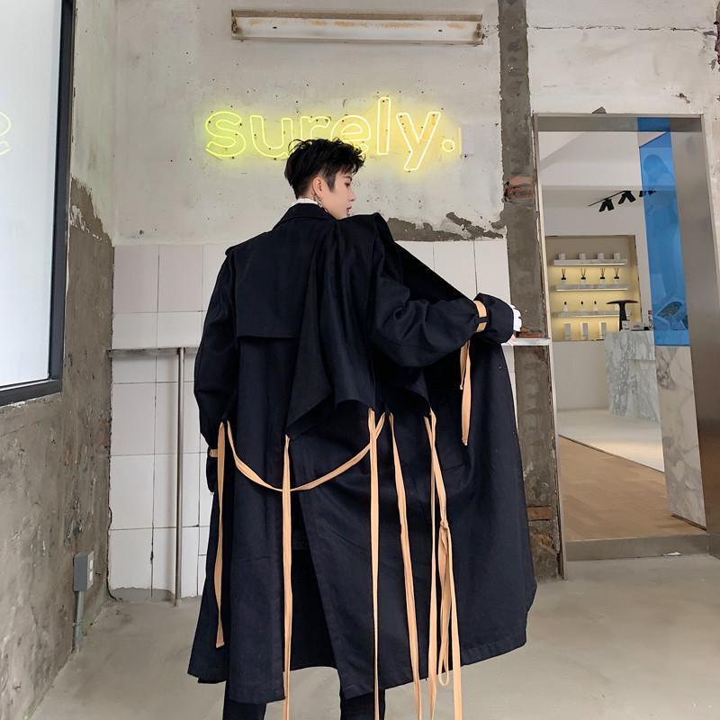 الهيب هوب المعتاد طويل خندق معطف الرجال معطف الكورية نمط الشرير الصخرة الشريط المرقعة سترة واقية معاطف إسقاط الرجال