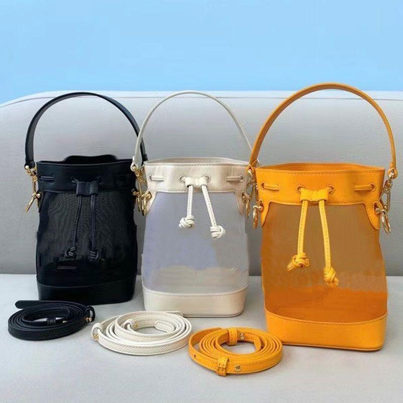 미니 핸드백 양동이 가방 크로스 바디 가방 패션 가죽 착용 메쉬 천으로 패턴 편지 두 분리형 어깨 스트랩 문자열