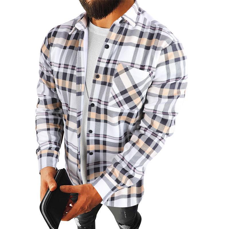 Jaquetas dos homens 2021 Moda Primavera xadrez camisa casual Cardigan camisas de manga comprida suave conforto Slim Fit estilos de flanela homens roupas