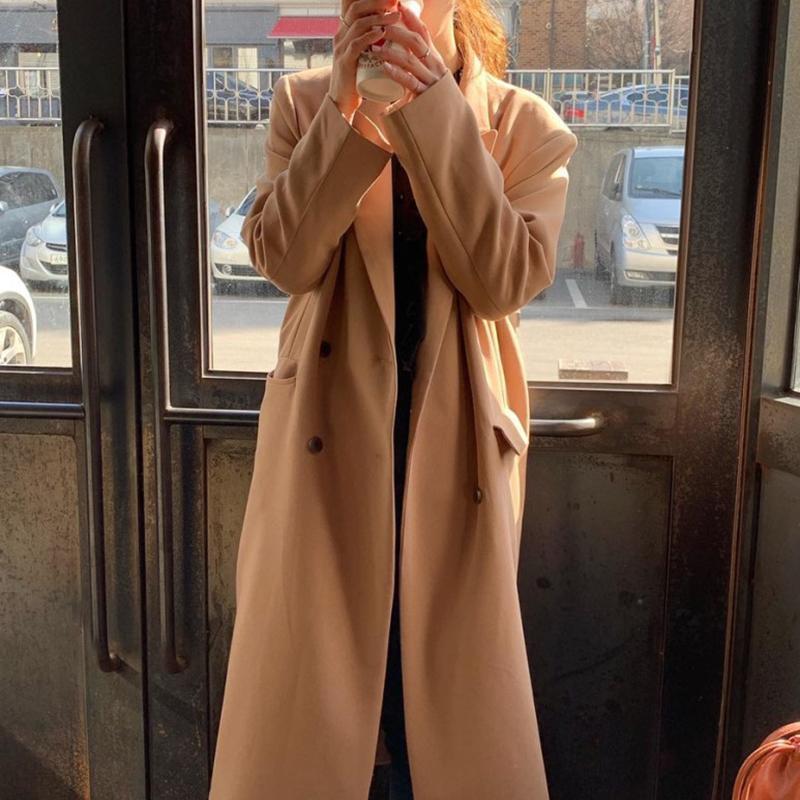 المرأة الخندق معاطف النساء أزياء الصوف معطف 2021 auutmn الشتاء طويل مزدوج الصدر رفض طوق الصوف السيدات الكورية أبلى