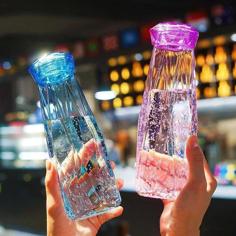 Transparente Glas Wasserflasche Kreativität Reise Becher Sport Plastikflaschen Camping Wandern Wasserkocher Drink Cup Diamant Geschenk