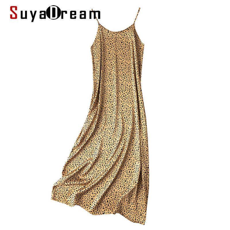 SuyaDream femme longue robe 100% satin satin de satin de satin imprimé robes de sangle de spaghetti printemps été maxi robes 210603