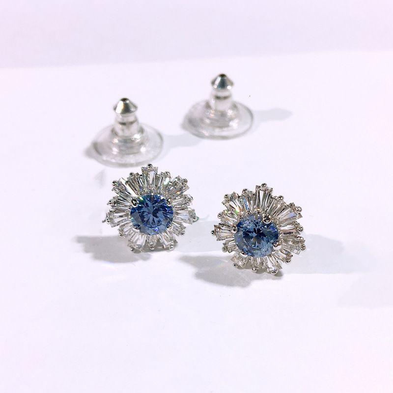 Sunflower Blue Crystal High Version Sun Pattern Flower Earrings 5536741tcx6