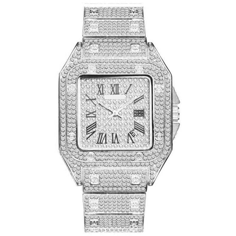 Diamant Paar Uhr Uhr Hip Hop Gold Edelstahl für Männer und Frauen Quarz Luxus Eis außerhalb Armbanduhren