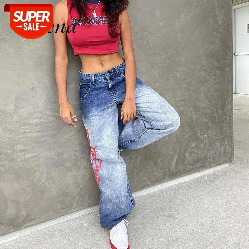 Jeans Vintage Baggy Y2K Loja de Cintura Baixa Tintura Long Calças Luz Light Light Hip Hop Azul Streetwear Denim Mulheres Partido # S24H