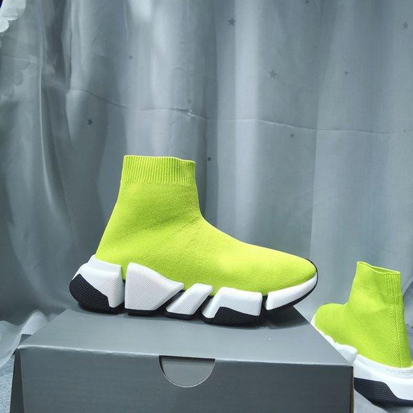 [Kutu ile] 2021 Tasarımcı Çorap Spor Ayakkabı Erkek Hız 1.0 Eğitmenler Lüks Kadın Erkek Koşucular Eğitmen Sneakers Çorap 2 Çizmeler Platformu Boyutu 36-45