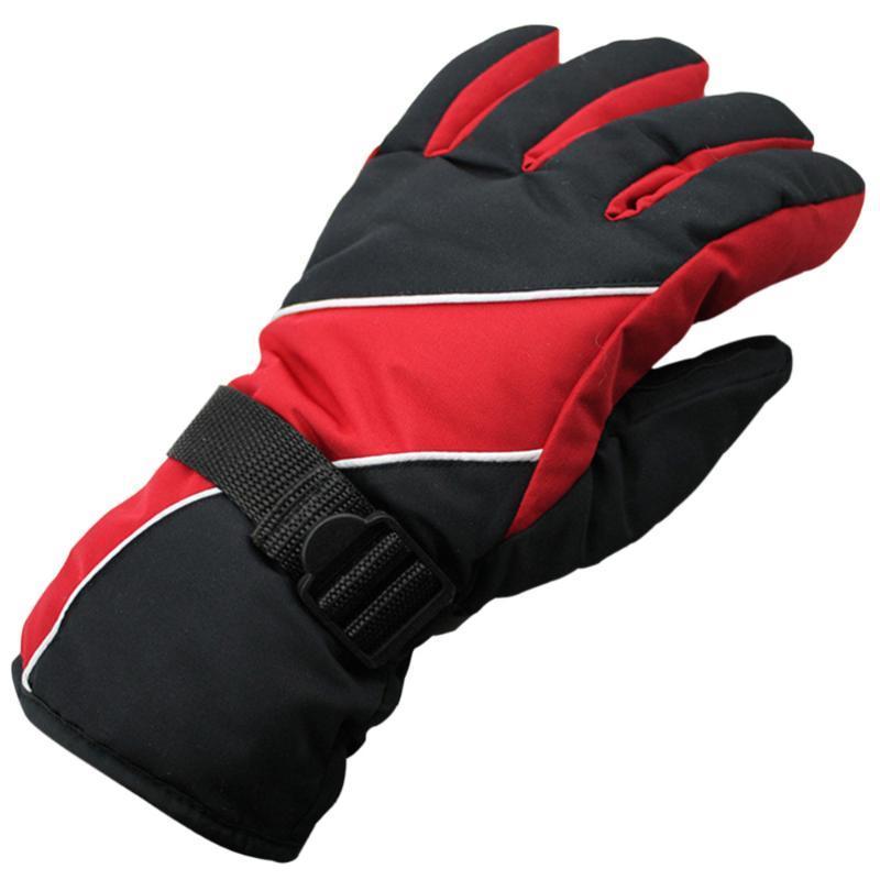 Ski Gloves Men's Water Resistant Windproof Snow Protection Warm Adjustable Winter Sportswear Snowboard (Red)