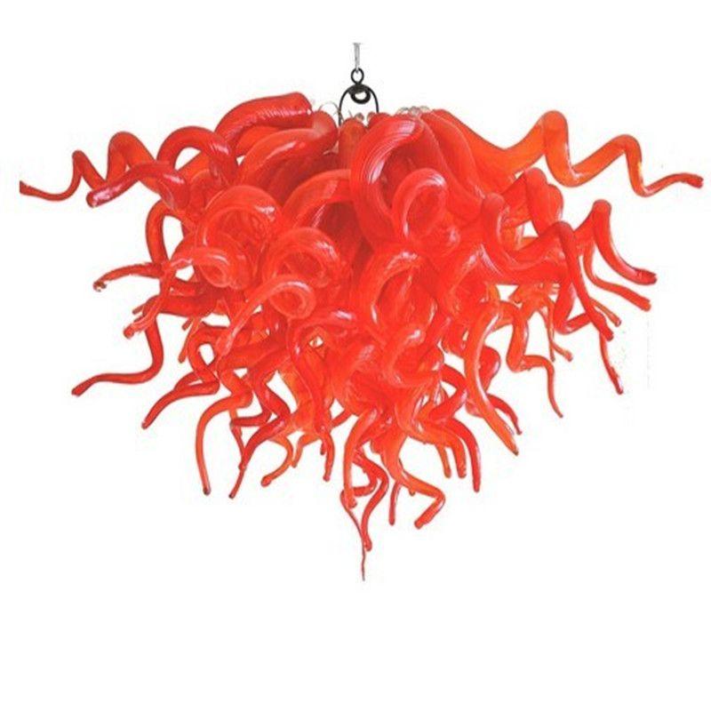 LED 유리 펜던트 램프 천장 조명 붉은 색 24 인치 계단 계단 호텔 레스토랑 다 이닝 룸 샹들리에 조명 전구 포함