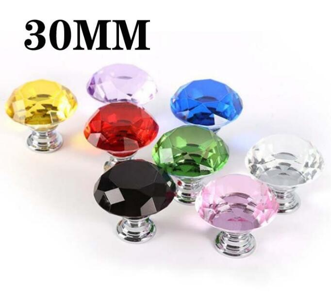 8 colors Knob Screw Fashion 30mm Diamond Crystal Glass Door Knobs Drawer Cabinet Furniture Handle Knob Screw Furniture Accessories