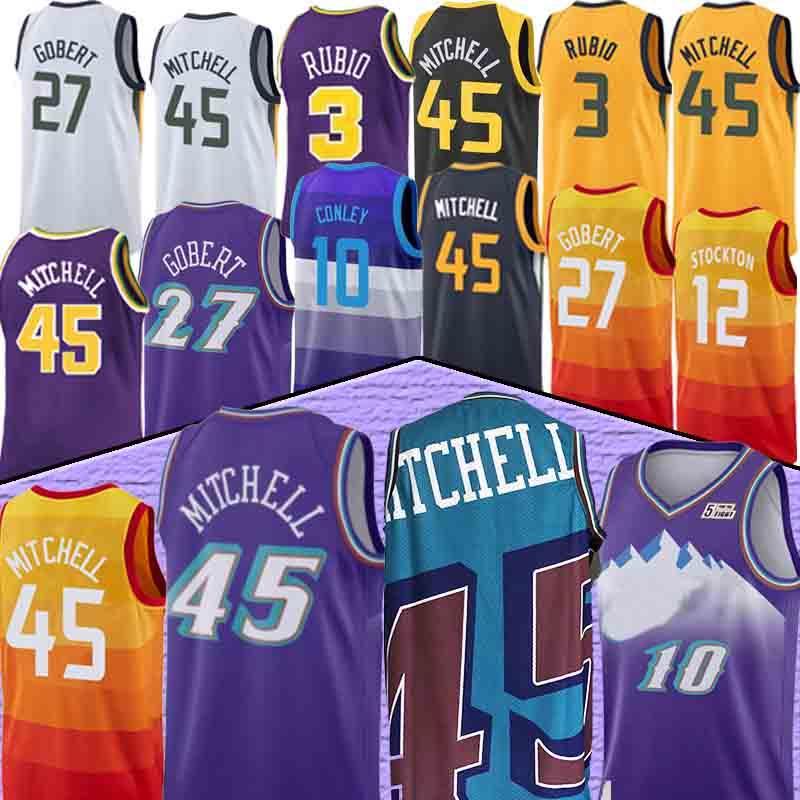 Donovan 45 Mitchell Jersey Mike 10 Conley Rudy 27 Gobert Rubio NCAA Erkekler Basketbol Formaları Mitchell Conley Gobert 12 Stockton 32 Malone
