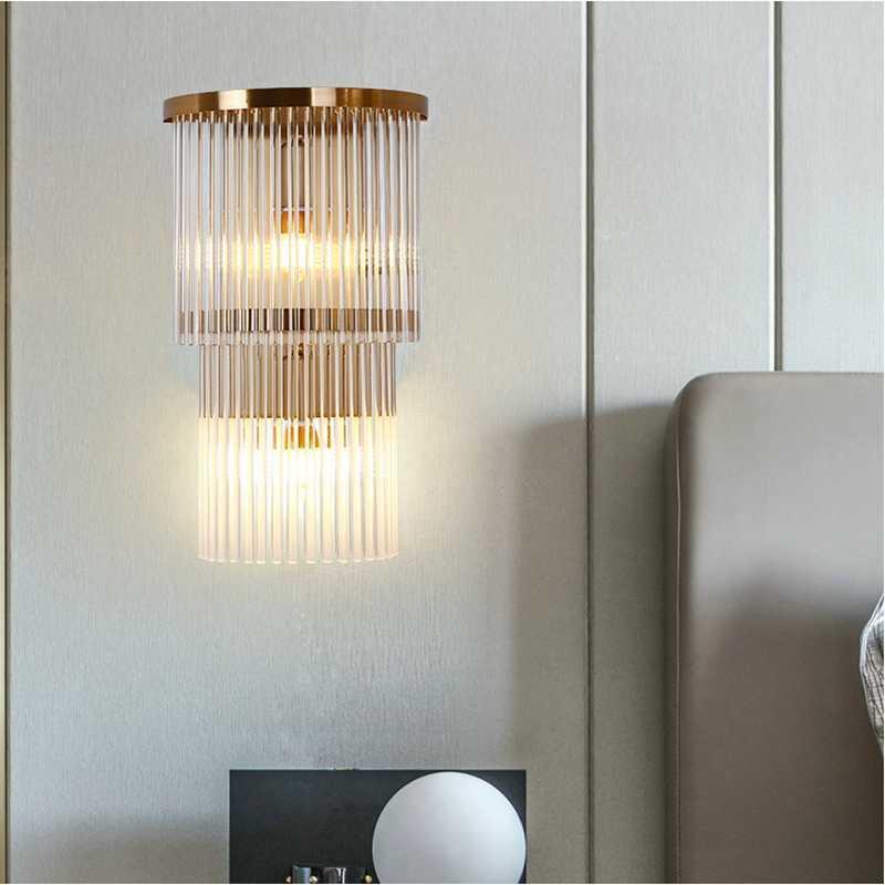 Lâmpada de parede pós-moderna de cristal de luxo quarto de estar sala de estar tv fundo el atmosférico decoração lâmpadas