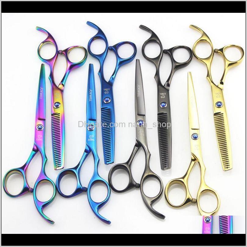 Bakım Styling Araçları Ürünleri Bırak Teslimat 2021 Joewell 5Dot5 Inç / 6Dot0 Inç 4 Colro Saç Kesme / İnceltme Makas Mavi / Balck / Gökkuşağı /