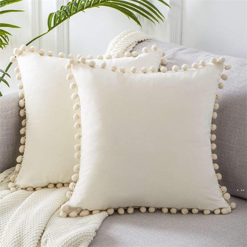 Luxury Pom-Pom Velvet Cushions Candy Color Solid Color Zipper Cover Home Decor Sofa Living Room Throw Pillow Case 45 X 45Cm HWE5923