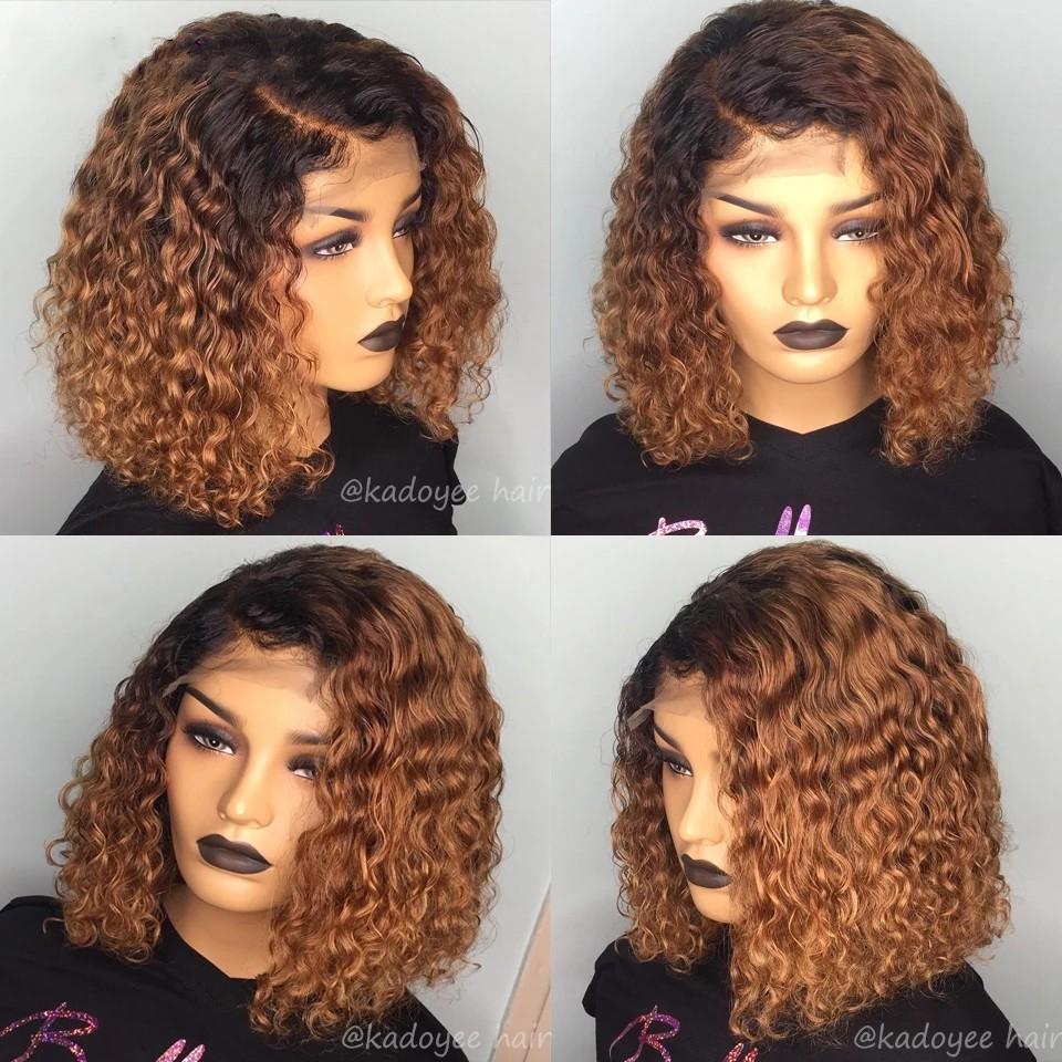 Kurzer Ombre Brown Curly Perücken Bob Deep Wave Human Hair 13x4 Highlight farbige synthetische Spitzefrontperücke für schwarze Frauen