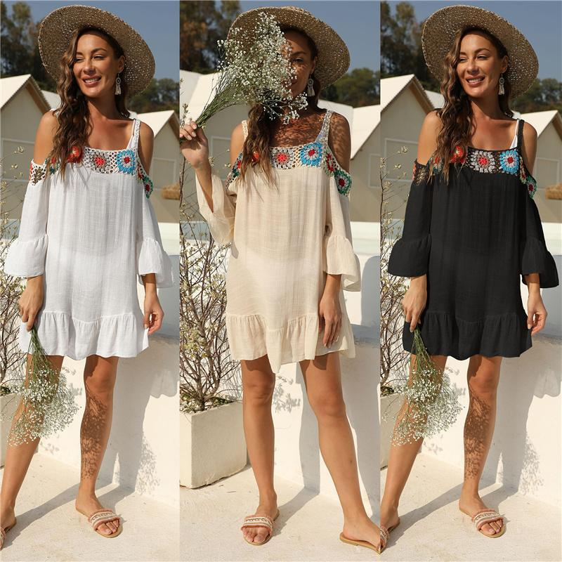 Sexy Crochet Tunic Beach Dress per le donne Solid Knitted Sarong Cover Up Bianco Balck Beachwear 2021 Costume da bagno Costume da bagno Costumi da bagno da donna