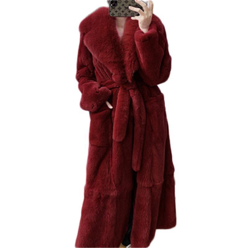 2020 Nuove cappotti di pelliccia sintetica da donna Plus Size Lady Lady Trendy Fur Coats femminile Capispalla lunga con cintura Mujer 5XL SOFFOTTO SOLIDO