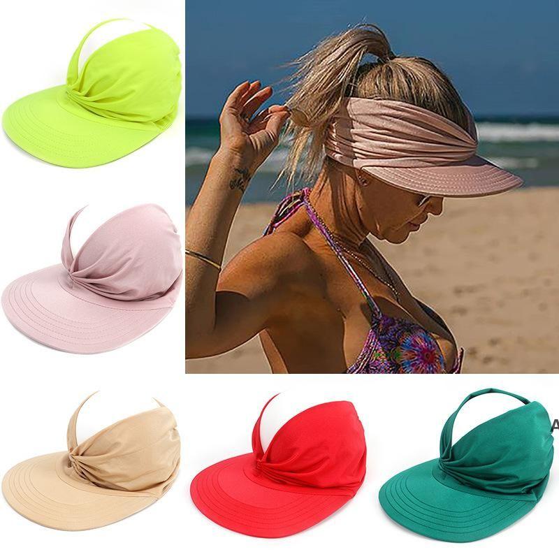 Пустая топ-шляпа Чистые цвета Sunhat Женщины Летние Солнцезащитная Крышка Анти-Ультрафиолетовый Упругости Взрослый Широкий Breim Hats 9 Цвета DHB7097