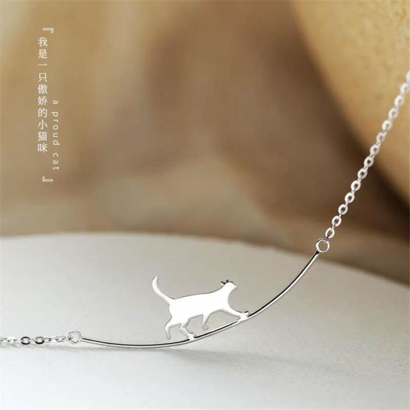 Мода, прогулочная кошка кулон ожерелье изогнутая простая личность 925 стерлингового серебра ювелирные изделия милые животные цепь ключицы