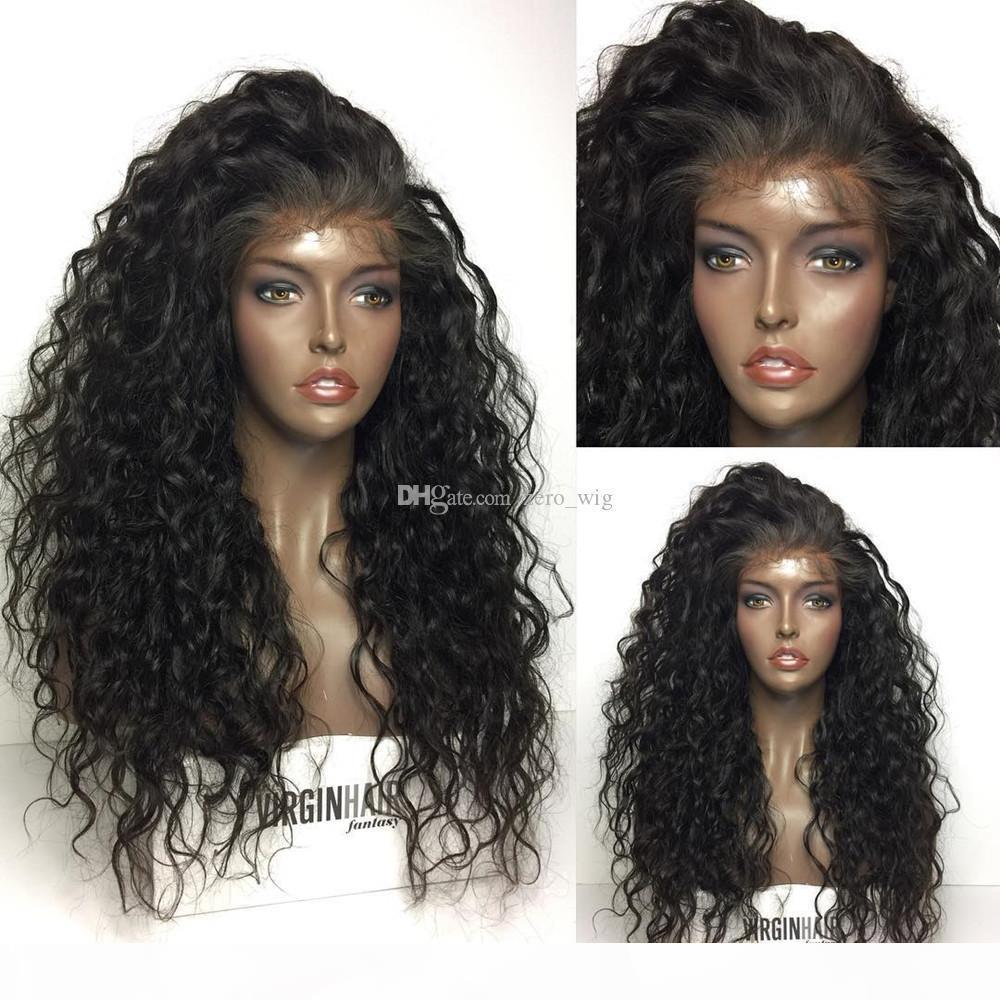 Parrucche dei capelli umani anteriori del merletto con le parrucche del merletto della onda profonda dell onda profonda della linea pinzata per le donne nere