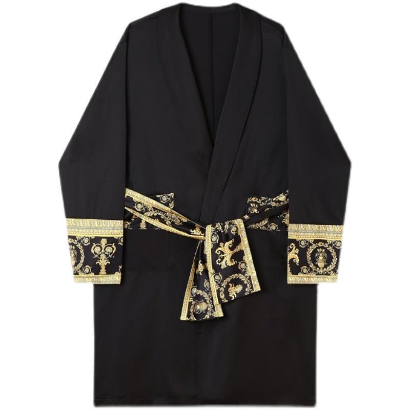Male Satin Nachthemd Windjacke Trenchmantel Streetwear Koreanische Stil Vintage Lange Strickjacken Männer Frühling Jacke Mäntel Männchen