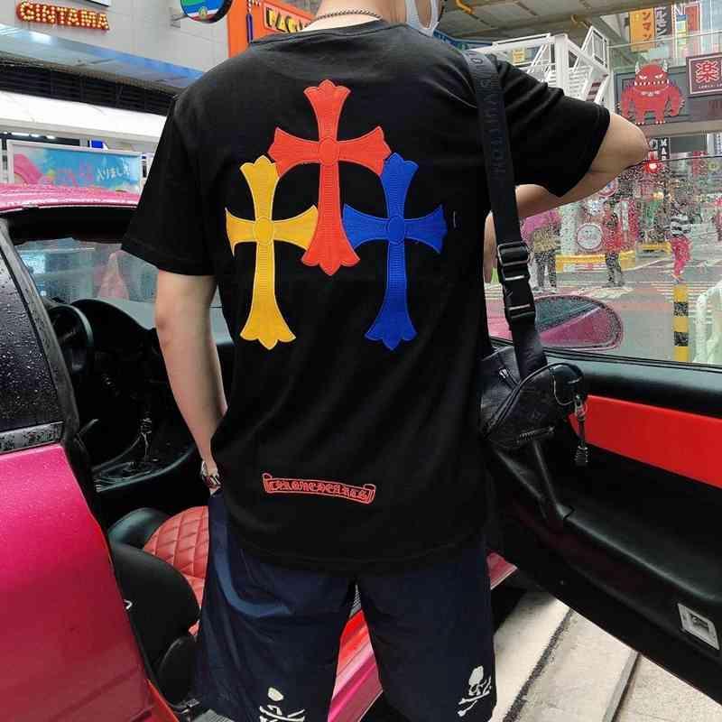 21 Marca de moda de verano CH CRO Bordado Skin Hombres y camiseta de manga corta ocasionales sueltos para mujer