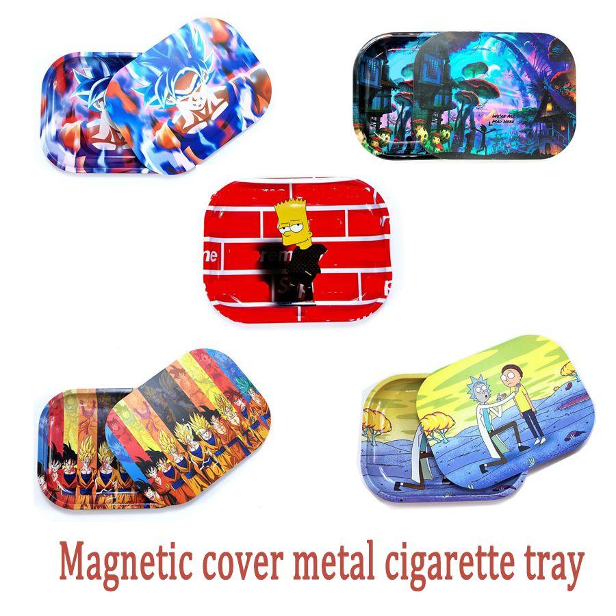 Walzschale mit magnetischen Deckeln Abdeckung Set Herbes-Tabakrohr Hand Zigarettenwalze 18x14cm Metall Aufbewahrungsplatte Kit 0266331