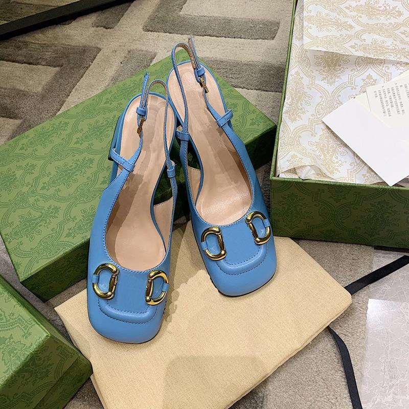 2021 summer Luxury designer Women Sandals 7.5cm blue high heel shoes women's leather square head shoe chunky heels sandal big size 35-42