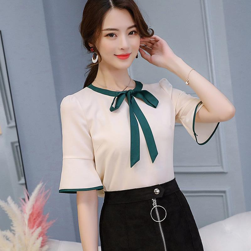Women's Blouses & Shirts Womens Short Sleeve Fashion Women Butterfly Bow Top Female Sweet Solid Color Blouse Females Breathable Slim Korean