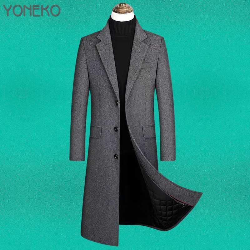 Wintermänner Mäntel aus Wollfarbe Solide Langarm Jacken Fleece Müßiggänger Streetwear Mode Graben Oberbekleidung 2021 Plus Size Herren