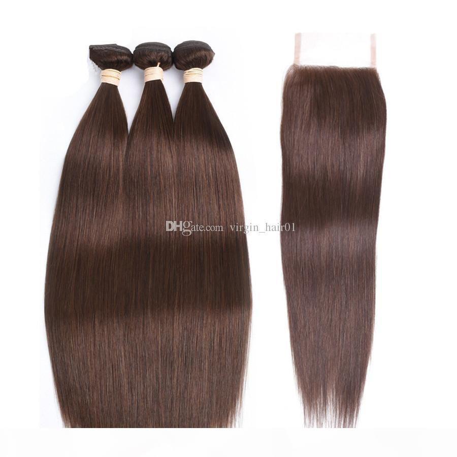 # 4 Colore marrone medio di capelli vergini con i capelli vergini con chiusura a pizzo castagna marrone peruviano capelli umani tessuti con 4 * 4 chiusura in pizzo superiore
