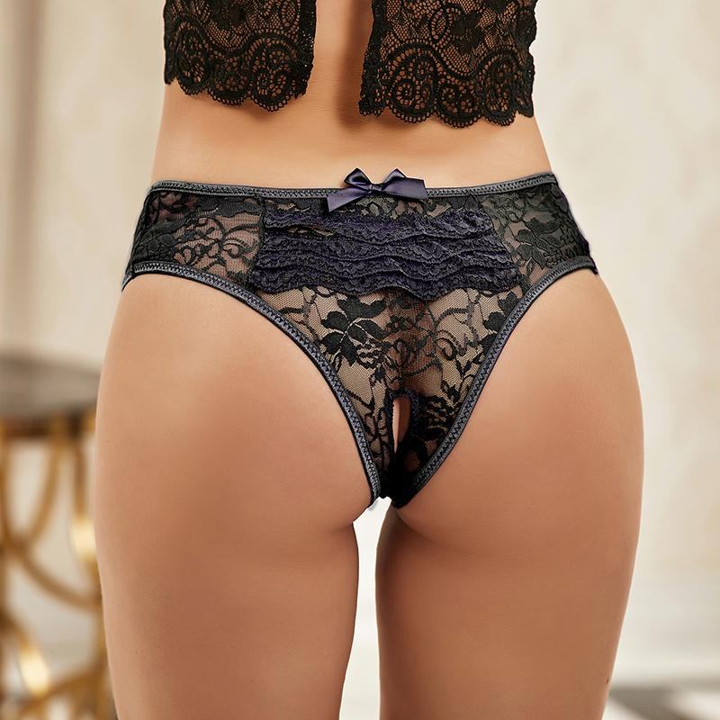 Hot Bowknot Knickers Open Bottom Panties Women Lace Transparent Female Briefs Large Size 6XL Sexy Underwear for Women PW5008P