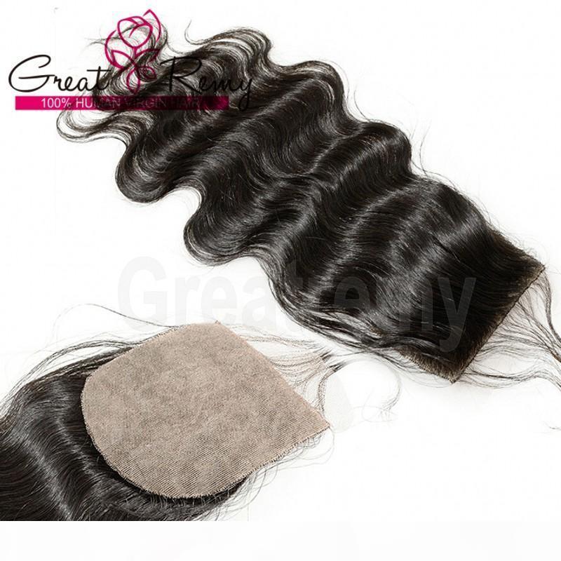 Seide Basis Top Verschluss Brasilianisch Unverarbeitete menschliche Haarverlängerungen Körperwellen Seidengrundverschluss 4 * 4 Haarstücke Natürliche Farbe färbbar