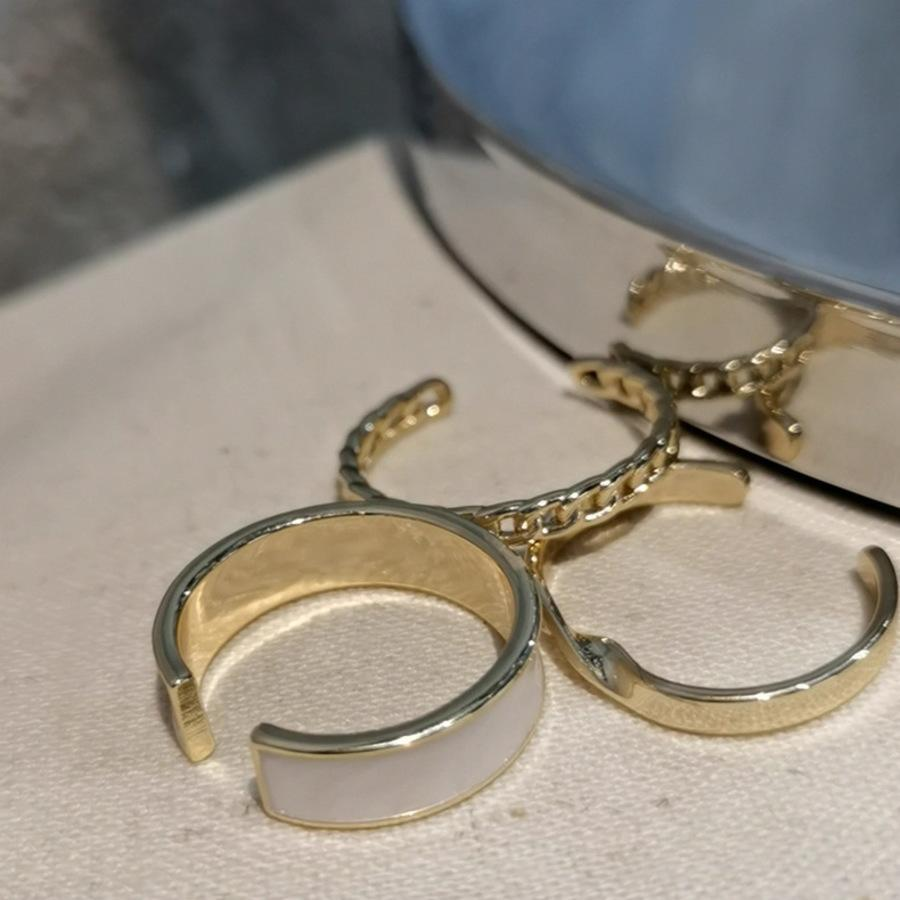 Fashion Plain Ring 3Girlspiece Traje Combinación Fresco Viento Boca Ajustable índice Dedo V5TZ