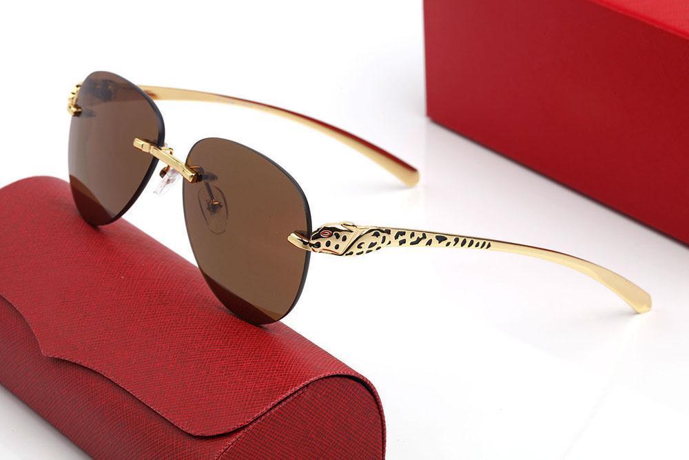 Modern Moda Panthère Erkekler Güneş Gözlüğü Pilot Lens Modeli Şık Tasarımcı Aviator Gözlük Çerçevesi Metal Panter Kafa Klasik Logo Boya Süreci Altın Tapınaklar Kutusu Ile
