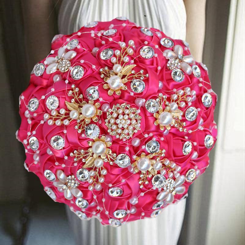 1 шт. / Лот розовые красные ленты свадебные цветы свадебные букеты с бриллиантами для украшения декоративные венки