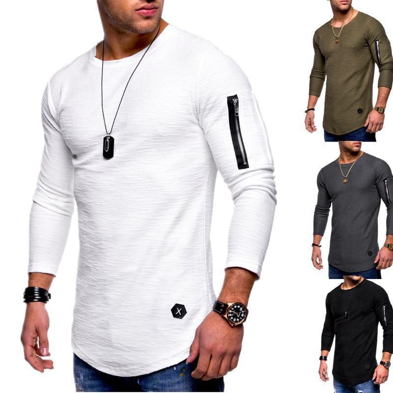 SLIM SLIM T-shirt a maniche lunghe con cerniera a maniche lunghe personalizzata T-shirt casual da uomo Moletom Moletom Masculino Felpe con cappuccio Hip-Hop