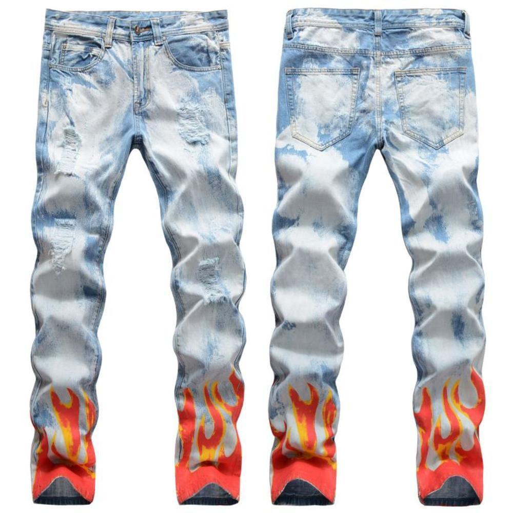 Neue Herren Männliche Hose Straße Lichtfarbene Löcher Flamme Digital Graffiti Print Jeans Hip-Hop Slim Gerade Jeans Denim Hose