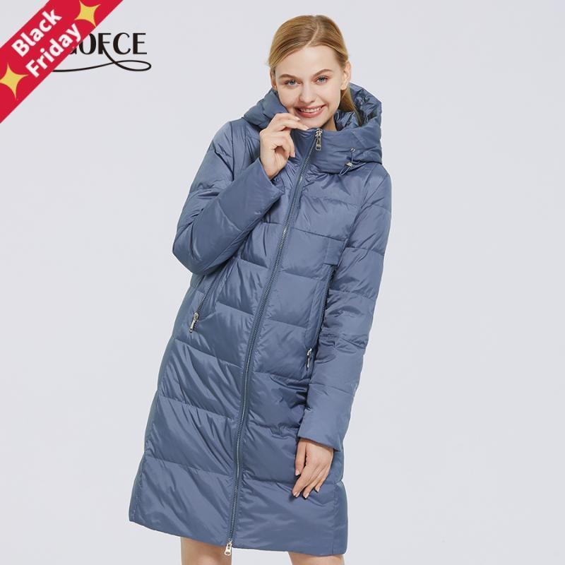 여성용 겨울 면화 컬렉션 방풍 재킷 스탠드 칼라 패브릭 및 방수 여성 파크 코트 다운 파카